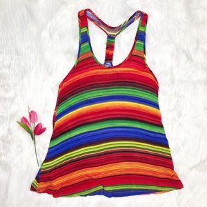 Body Central Rainbow Racerback Tank Top